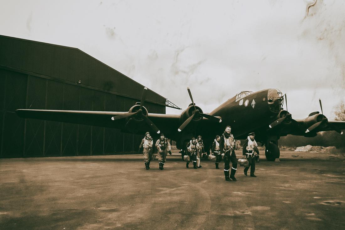 Halifax Bomber and Crew